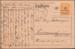 327B Infla 5 Mrd. M Randstück Als EF Auf Postkarte CÖLN 19.11.23 Nach Emmerich - Deutschland