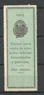 EL SALVADOR 1904 Timbre Para Revenue Alcohol Selling Tax VENTA DE ALCOHOLES, BEBIDAS FERMENTADAS Y GASEOSAS MNH - El Salvador