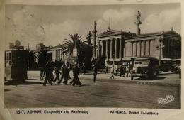 Athens // Carte Photo // Academie And Tram 1947 - Griekenland