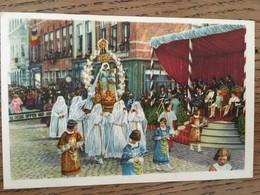 """Carte, Publicité Chocolat """"CÔTE D'OR"""" Chromo N°2, FOLKLORE BELGE, Bruges, Procession Du St Sang, Vierge Et Enfant Jésus - Chocolat"""