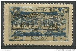 Fiume - 1924 Express Mail 2L MH *    Mi 195  Sc E17 - 8. WW I Occupation