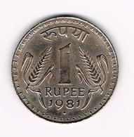 &  INDIA  1 RUPEE  1981 - Inde