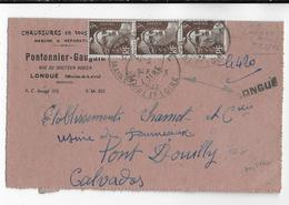 1946 - GANDON - ENVELOPPE Avec RECOMMANDE PROVISOIRE De LONGUE (MAINE ET LOIRE) => PONT DOUILLY - Postmark Collection (Covers)
