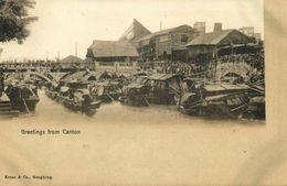China, CANTON GUANGZHOU, Shameen Bridge Scene, Houses And Boats 1899 Kruse & Co. - China