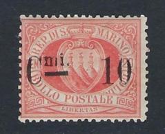 SAN MARINO 1892 10c ROSSO Nº 10 - Saint-Marin
