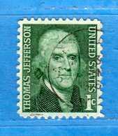 (Us2) USA °-1967-68 - Américains Célèbres- THOMAS JEFFERSON.  Yvert . 816  .  USED.  Vedi Descrizione - Stati Uniti