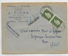 1945 - DULAC - ENVELOPPE Avec RECOMMANDE PROVISOIRE De FORCALQUIER (BASSES ALPES) => MACON - Postmark Collection (Covers)
