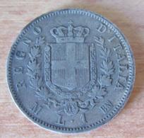 Italie - Monnaie 1 Lire Vittorio Emanuele II M (Milan) 1867 En Argent - 1861-1946 : Kingdom