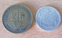 Monaco - 2 Monnaies : Bon Pour 2 Francs 1926 Et 1 Franc Alu Non-daté (1943) Louis II - Monaco