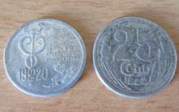 2 Jetons De Nécessité, Chambre De Commerce, En Aluminium : 10 Cts Nice 1920 Et 25 Cts Eure Et Loir 1922 - Monetary / Of Necessity