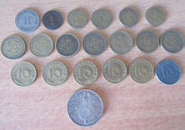 Allemagne / Empire Allemand - Lot De 20 Monnaies Dont 10 Pfennig 1936 A Et 5 Mark 1938 A En Argent - [11] Collections