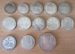 France - 13 Monnaies En Argent Début 20e Siècle - 1fr 2fr 10fr 20fr + Curiosité 2 Francs 1902 Faux D'époque, Voir Détail - France