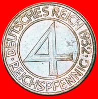 + RARE: GERMANY ★ 4 PFENNIG 1932F! LOW START ★ NO RESERVE! - 4 Reichspfennig