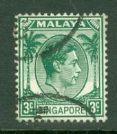 Singapore: 1948/52   KGVI   SG3    3c    [Perf: 14]    Used - Singapour (...-1959)