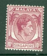 Singapore: 1948/52   KGVI   SG7    10c    [Perf: 14]    MH - Singapour (...-1959)