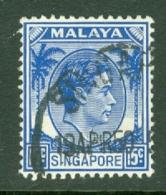 Singapore: 1948/52   KGVI   SG8    15c    [Perf: 14]    Used - Singapore (...-1959)