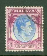 Singapore: 1948/52   KGVI   SG13   $1    [Perf: 14]    Used - Singapour (...-1959)