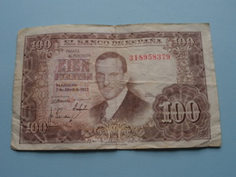 100 - Cien PESETAS - El Banco De Espana - 318958379 - Madrid 7de Abril De 1953 ( For Grade, Please See Photo ) ! - [ 3] 1936-1975 : Régence De Franco