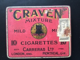 Boîte Ancienne Métal 10 Cigarettes Craven Mixture Carreras Chat Noir - Sigarettenkokers (leeg)