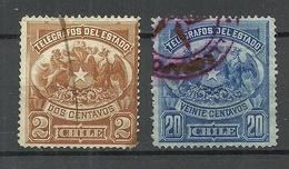 CHILE 1891 Telegraphenmarken Telegraph Tax Stamps Michel 1 & 3 O - Chile