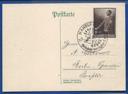 POSTKARTE   Avec Affranchi à  6 + 19 Deutches Reich  Effigie Adolf Hitler  Oblitération: Hamburg - Briefe U. Dokumente