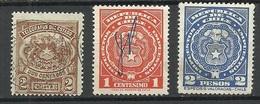 CHILE 3 Alte Telegraphenmarken Telegraph Tax Revenue Stamps O - Chile