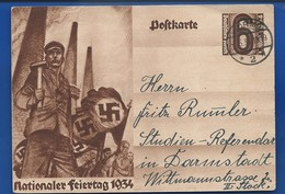 Postkarte Nationaler Feiertag 1934  à 6 Deutches Reich   Oblitération: WORMS 1/5/1934 - Lettres & Documents