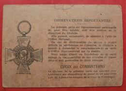 51 CHALONS SUR MARNE CARTE DU COMBATTANT 1937 - Documents