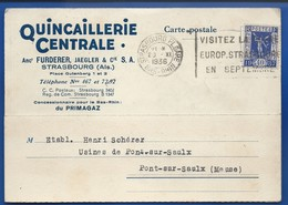 Carte à Entête D'Entreprise  Strasbourg     Quincaillerie  Anct FURDERER-JUNGLER  écrite En 1936 - Strasbourg