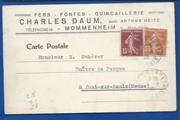 Carte à Entête D'Entreprise     Quincaillerie: Charles DAUM  MOMMENHEIM  écrite En 1935 - Francia
