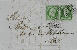 1857- Lettre De Paris Bureau C  - Affr. Paire N° 12  ( 4 Marges )  Affr. Losange C   G L - 1849-1876: Classic Period