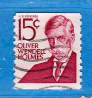 (Us2) USA °-1967-68 - Américains Célèbres- Olivier Wendell Holmes.  Yvert . 821A. D. 10 Vert  .  USED.  Vedi Descrizione - Stati Uniti