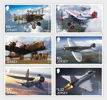 Jersey 2286/91 Et F2287 Royal Air Force, Avion Militaire, Spitfire, Lancaster - Aviones
