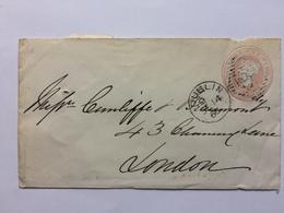 GB Victoria Penny Pink Prepaid Cover 1866 Dublin Duplex To London - 1840-1901 (Victoria)