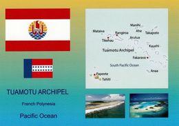 1 AK Französisch-Polynesien Tuamotu Archipel * Flagge, Landkarte, Wappen U. Zwei Ansichten Vom Tuamotu Archipel * - Französisch-Polynesien