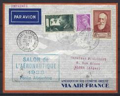 Lettre Imprimée France - Alger, Avec Cachet Du Salon De L'aéronautique  De 1938 Via Air France - Marcophilie (Lettres)
