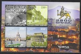 ARMENIA, 2018, MNH,  ARMENIAN STATEHOOD,  YEREVAN, SHEETLET OF 4v - History