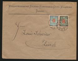 Danzig Infla Brief MIF Wappen Nach Zürich Schweiz 27.1.1923 - Danzig