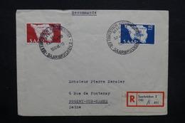 SARRE - Enveloppe En Recommandé Pour La France En 1948 , Affranchissement Et Oblitération Plaisants - L 32353 - 1947-56 Occupation Alliée