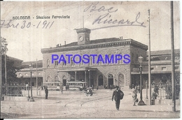 113802 ITALY BOLOGNA EMILIA ROMAÑA STATION TRAIN & TRAMWAY CIRCULATED TO ARGENTINA POSTAL POSTCARD - Italia