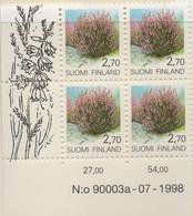PIA - FINLANDIA  - 1990 - 1999 : Piante E Fiori Delle Province Finlandesi - Calluna Vulgaris - (Yv 1067 X 4) - Nuovi