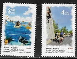 TURKISH CYPRUS,  2018, MNH,SPORTS, CYCLING, DIVING, CANOEING, CORALS, 2v - Cycling