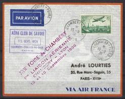 Première Liaison Aérienne Chambéry - Lyon Le 15 Et 16 Septembre 1936 Via Air France - Marcofilia (sobres)