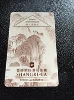Hotelkarte Room Key Keycard Clef De Hotel Tarjeta Hotel  SHANGRI - LA  No Location But From CHANGCHUN - Phonecards