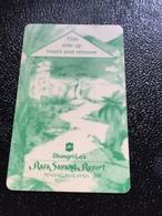 Hotelkarte Room Key Keycard Clef De Hotel Tarjeta Hotel  SHANGRI - LA  RASA SAVANG RESORT PENANG Light Green - Telefonkarten