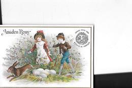 CHROMO  AMIDON REMY  GRAND PRIX 1889 PERSONNAGES 2 ENFANTS LAPIN ET OEUFS    COULEURS  10.8 X 7.4 CMS - Trade Cards