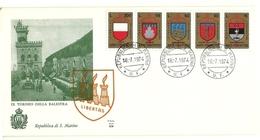 1974 - San Marino 921/25 Stemmi - FDC - Francobolli
