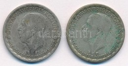 Svédország 1946TS-1949TS 1K Ag (2xklf) 'V. Gusztáv' T:2- Patina Sweden 1946TS-1949TS 1 Krona Ag (2xdiff) 'Gustaf V.' C:V - Coins & Banknotes