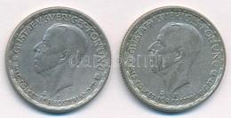 Svédország 1946TS-1949TS 1K Ag (2xklf) 'V. Gusztáv' T:2,2- Kis Patina Sweden 1946TS-1949TS 1 Krona Ag (2xdiff) 'Gustaf V - Coins & Banknotes