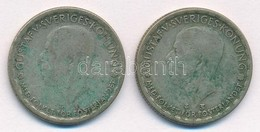Svédország 1947TS-1949TS 1K Ag (2xklf) 'V. Gusztáv' T:3 Patina Sweden 1947TS-1949TS 1 Krona Ag (2xdiff) 'Gustaf V.' C:F  - Coins & Banknotes